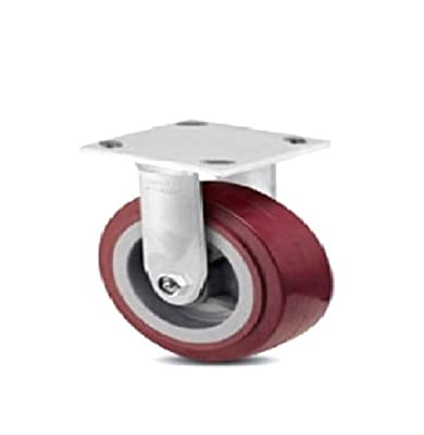 "One Colson Rigid Plate Caster with Maroon Polyurethane 5"" x 2"" Wheel 4-5108-929"