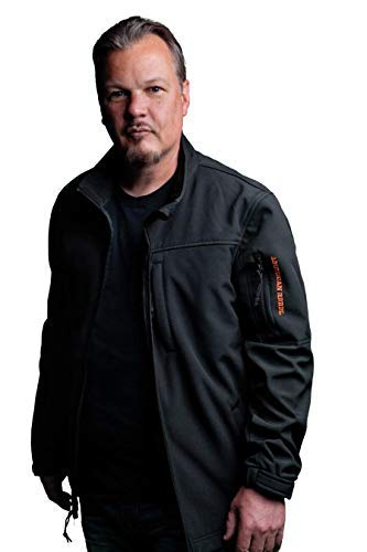 Black with Orange Trim Concealed Carry Defender Jacket, Men's Medium Fleece Jacket, Tactical Coat - American Rebel