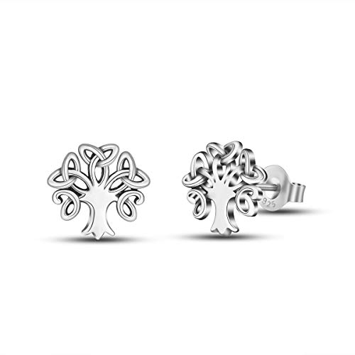 INFUSEU 925 Sterling Silver Irish Trinity Celtic Knot Stud Earrings for Women (Tree of Life/Family)