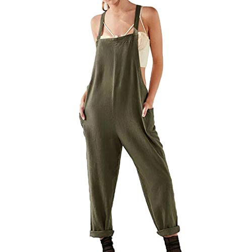 - Yucode Women Jumpsuit Rompers,Casual Solid Straight Casual Loog Pant Wide Leg Jumpsuit Army Green