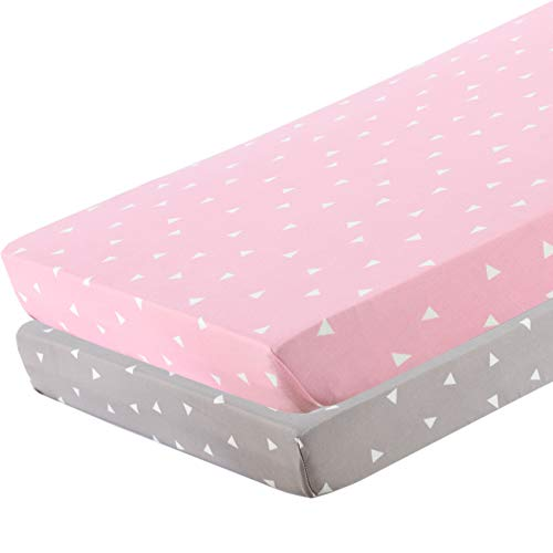 BROLEX Pack n Play Stretchy Fitted Pack n Play Playard Sheet Set-Brolex 2 Pack Portable Mini Crib Sheets,Convertible Playard Mattress Cover,Ultra Soft Material?Pink Grey Triangle