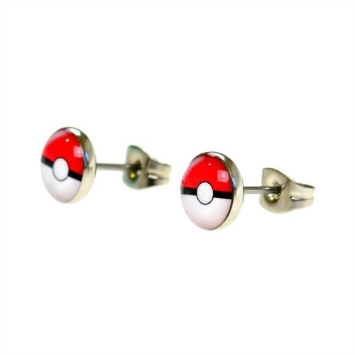 Jewellery-of-Lords-Pair-of-7mm-Pokemon-Pokeball-Stainless-Steel-Stud-Earrings-Disk-Saucer-Pikachu