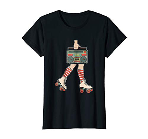 Womens Vintage Roller Skates Skating Girl Retro 80s party T-Shirt -