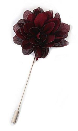 Flairs New York Gentleman's Essentials Premium Handmade Flower Lapel Pin Boutonniere (Pack of 1 Pin, Bordeaux Wine - Essentials Flowers