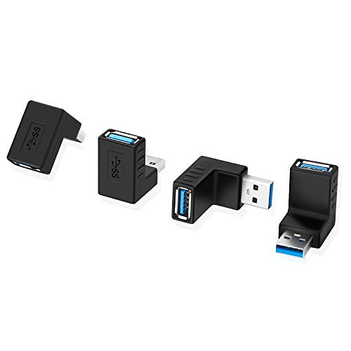 ELUTENG USB Coupler Super-Speed USB 3.0 90 Degree USB Adapter UP Right Angle Type A Male USB to Female USB L Shape Connector for USB-USB Cable Convert - 4 Packs ()
