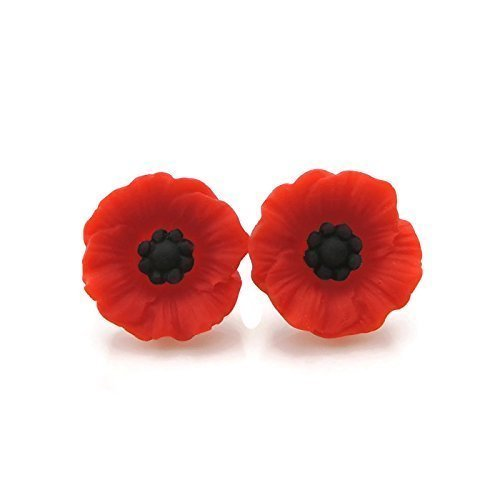 Large Red Poppy Plastic Post Earrings for Metal Sensitive Ears, 19mm