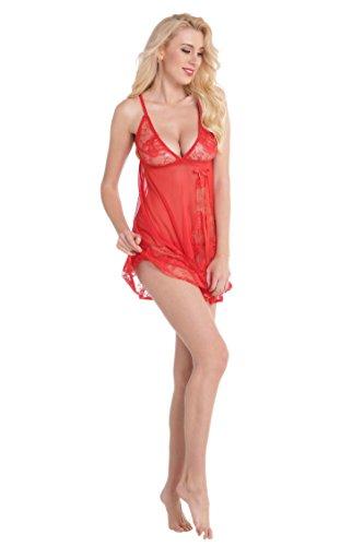 Aibrou Lencería Mujer, Semi-Transparente Picadias Ropa Interior, Erotica Pijamas Encantadora con Tanga Rojo