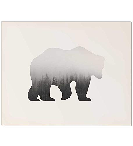 Woodland Decor, Woodland Print, Woodland Animal, Gray Art Print, Bear Art Print, Gray Animal Print, Animal Wall Art, Gray Bear Print, Neutral Animal Print, Bear Wall Print, Bear Wall Art, Poster, 8x10