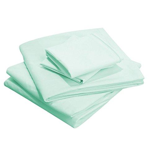 SCALABEDDING 18 pouces poche profonde 100% coton égypcravaten 500 fils Taille Complet Solide Parure de lit aqua