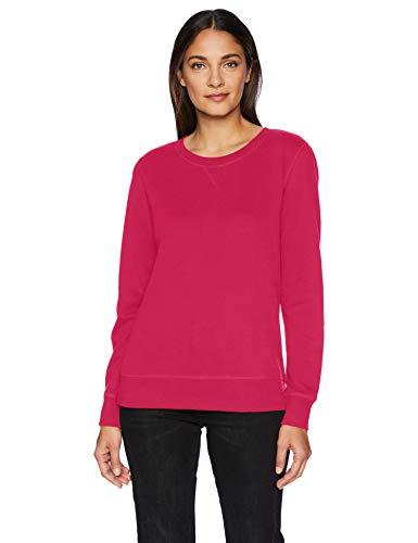 Fleece Pullover Sweater - Amazon Essentials Women's French Terry Fleece Crewneck Sweatshirt Sweater, -dark pink, Medium