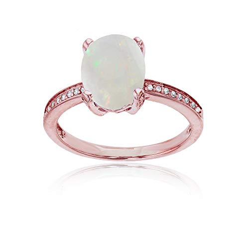 (14K Rose Gold 0.08 CTTW Round Diamond Channel Set & 10x8 Oval Opal Engagement Ring)