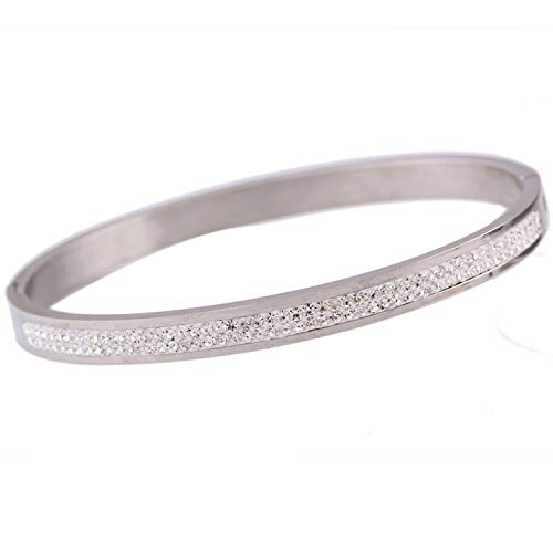 Two Rows Crystal Rhinestone Pave Stainless Steel Love Bracelets Bangles Women Silver Plated