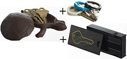 GenRev 2 Piece Hide a Key Set - Decorative Outside Turtle Statue Key Hider and Magnetic Under Car Key Box - with Added Key Identifier Rings by GenRev