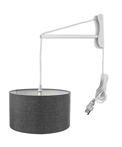 2 Arm Pendant - MAST Plug-In Wall Mount Pendant, 2 Light White Cord/Arm with Diffuser, Granite Gray Shade 16x16x08