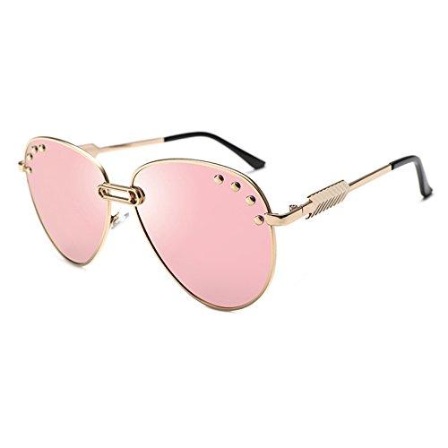 decorativas Eyewear Pasadores Gafas plata ZHANGYUSEN sol metal Gafas de 2 2018 océano traje Sol de cristalino piloto mujer 6 Retro rosa UV400 Uwwq48