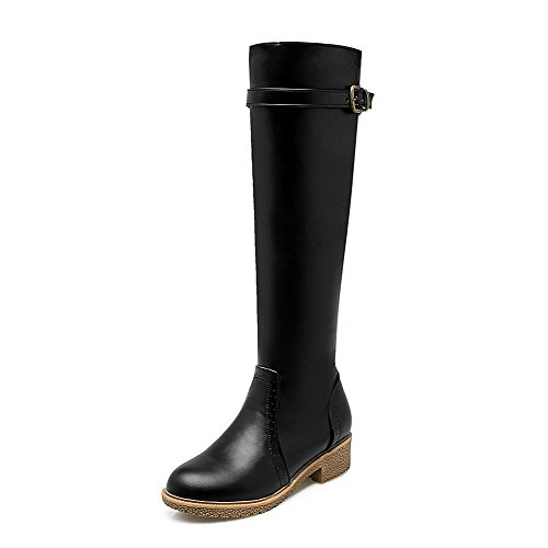 AllhqFashion Womens High-top Zipper Soft Material Low-Heels Round Closed Toe Boots Black cwOmB