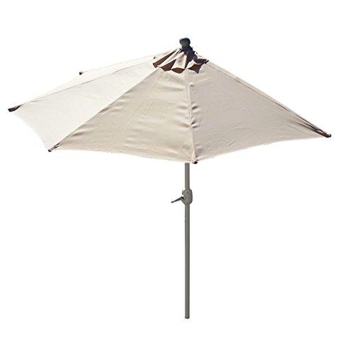 Sonnenschirm halbrund Parla, Halbschirm Balkonschirm, UV 50+ ~ 300cm creme ohne Ständer