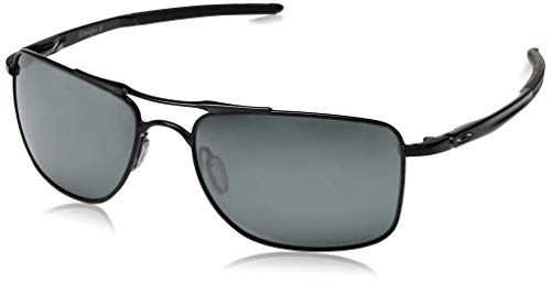 Oakley Men's OO4124 Gauge 8 Rectangular Metal Sunglasses, Polished Black/Prizm Black, 57 mm
