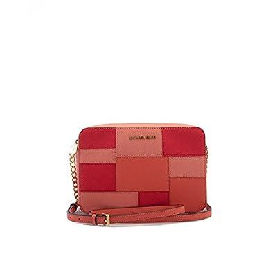 Michael Kors Women's Jet Set Crossbody Leather Bag, Pink Grapefruit Block, Large