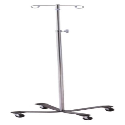 MCK25203200 - Mckesson Brand IV Pole Floor Stand entrust Performance 2-Hook 4-Leg, Rubber Wheel, Ball-Bearing Casters, 22 Inch Epoxy-Coated Steel Base by McKesson (Image #1)