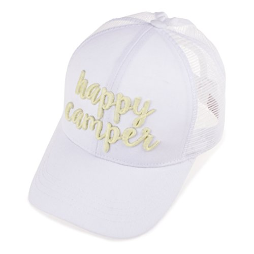 C.C 3D Color Changing Embroidered Trucker Cap Exclusives (BT-10)(White, Happy Camper)
