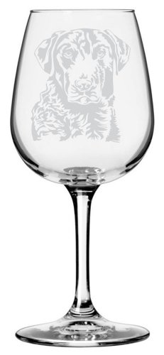 Chesapeake Bay Retriever Dog Themed Etched All Purpose 12.75oz Libbey Wine Glass