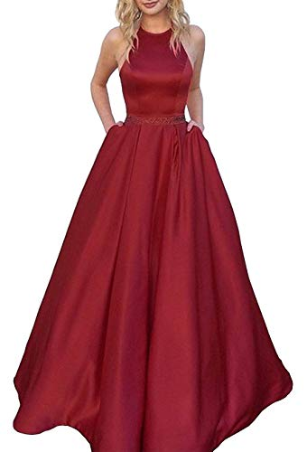 Halter Prom Dresses Long Satin Backless Beaded Evening Formal Gowns with Pockets for Women Burgundy Size 6