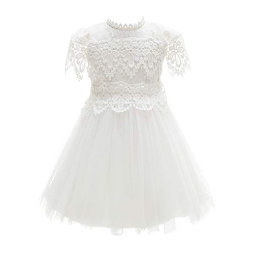 - Baby Girl Floral Embroidered Sleeves Empire Waist Dedication Dress Ivory Size 3M / 0-3Months