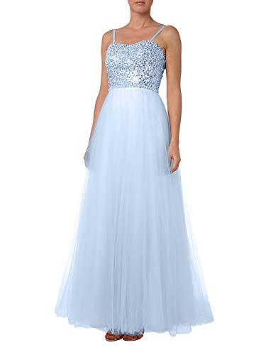 Abendkleider Promkleider Himmel Linie Marie Blau Braut Rock Traeger La Tuell Brautmutterkleider spaghettii Pailletten Prinzess A OX0qTwR