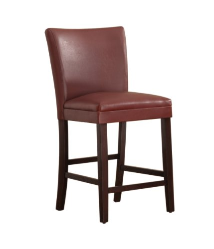 Homelegance 3276R-24 Bi-Cast Vinyl Parson Counter Height Chair (Set of 2), Lava Red