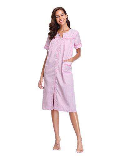 Lusofie House Coat Women Button Front Striped Sleepwear Long Cotton Nightgown (Pink, L) (Cotton Coat Nursing)