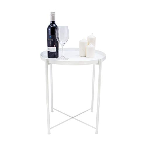 Ovicar Tray Metal End Table, Round Side Accent Coffee Table, Small Stylish Sofa Snack Table with Anti-Rust and Waterproof Metal Frame for Living Room, Outdoor & Indoor, White (Tray Table White)
