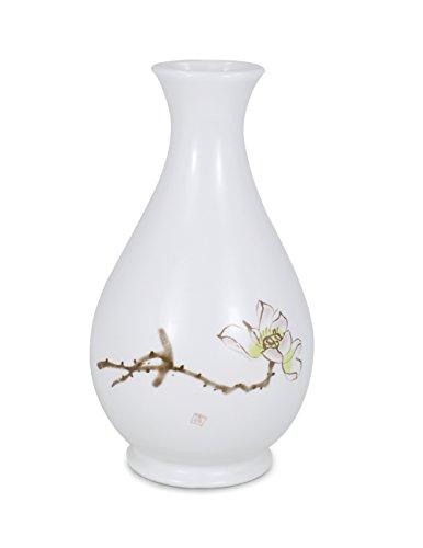 Dahlia Modern Minimalism Lotus Decorative Hand Painted White Porcelain Flower Bud Vase, 6 Inches, ()