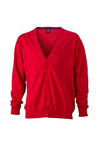 Men's Neck Cardigan V with V Red Men's Cardigan Neck rwrqI10