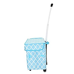 dbest products Smart Cart, Moroccan Tile Rolling Multipurpose Collapsible Basket Cart Scrapbooking