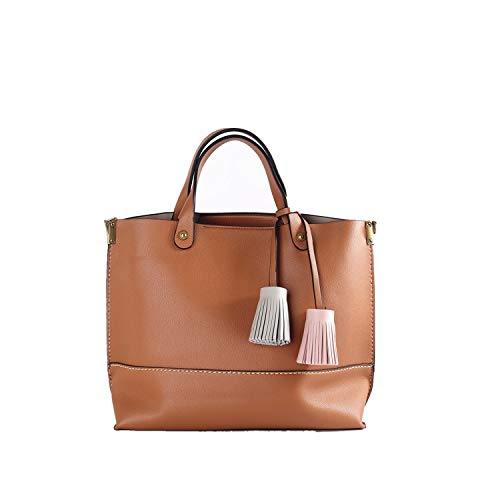 Mentor Bag - Mentor Handbag 8087 Women 2 Piece Bags Set Ladies Handbag Tassel Tote Bags Satchels and Shoulder Bag (Brown)