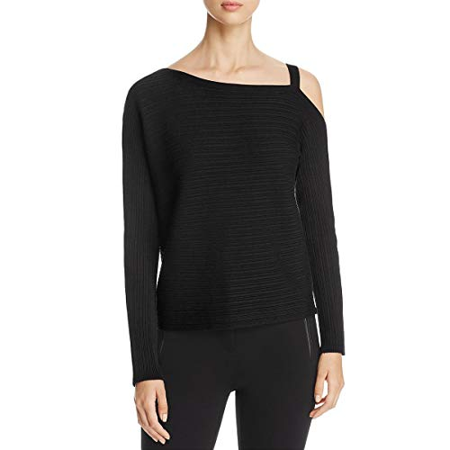 Eileen Fisher Womens Tencel Off-The-Shoulder Pullover Sweater Black M