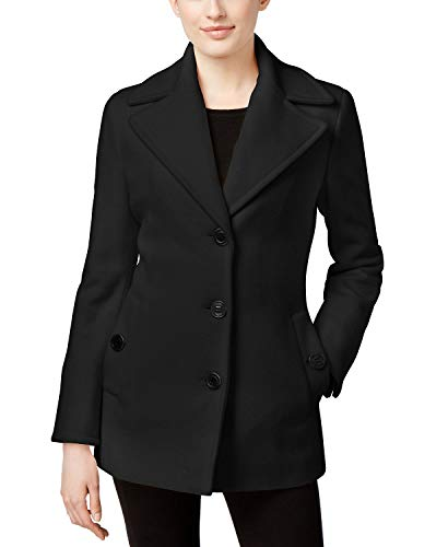 Calvin Breasted Klein Suit Single - Calvin Klein Womens Wool-Cashmere Single-Breasted Peacoat Black XL