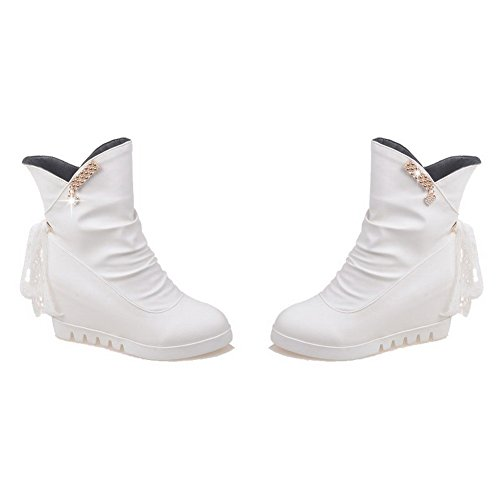 Allhqfashion White Women's Mid Solid High Top Heels Round Boots Closed Pu Toe rZUrO