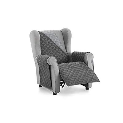 Textilhome – Salvadivano Copripoltrona Trapuntato Malu – Relax / 1 posti – REVESIBLE. Colore Grey