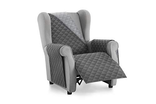 Textilhome – Housse Fauteuil Protecteur Malu, Taille 1 Places/Relax. Housse Matelasse Réversible. Couleur Grey