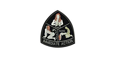 (Mil-Spec Monkey IMMEDIATE Action Green Army Morale Patch Hook Backing tap Rack Bang (1) )