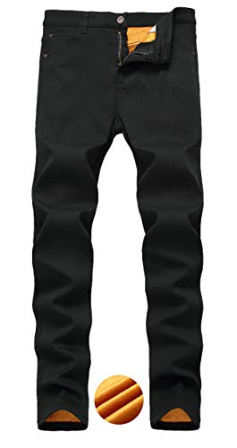 Qazel Vorrlon Men's Fleece Lined Jeans Slim Fit Denim Pants Winter Thicken Skinny Stretch Jeans W36 Black(Fleece)