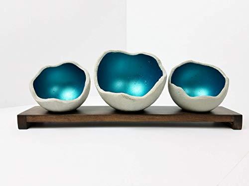 Decorative Concrete Bowl - Teal - Air Plant Holder - Candle Holder - Smudge Bowl