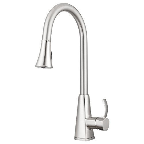 (Bridgeport Pull Down Kitchen Faucet by Pacific Bay (Brushed Satin Nickel) - Features Multiple Spray Functions, and an Eco Friendly Water and Energy Saver - New 2018 Model)