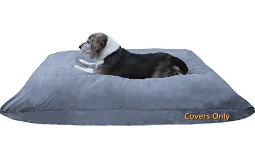 Do It Yourself DIY Pet Bed Pillow Duvet Suede Cover + Waterproof Internal case for Dog/Cat at Large 48''X29'' Gray Color - Covers only by Dogbed4less