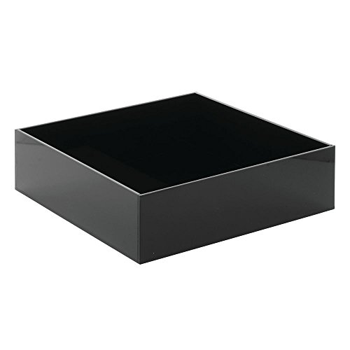 Crock for Cold Foods Black Acrylic Cold Serving System Tray - 10'' L x 10'' W x 3'' H by Hubert