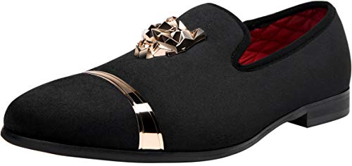 JOUSEN Men's Velvet Loafers Gold Buckle Luxury Smoking Slipper (12,Black-1)]()