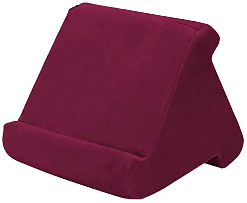 JYWJ Pad Tablet Stand Cushion Holder, Multi-Angle Triangle Soft Pillow Pad for Tablets, Smartphones, Books wine red L