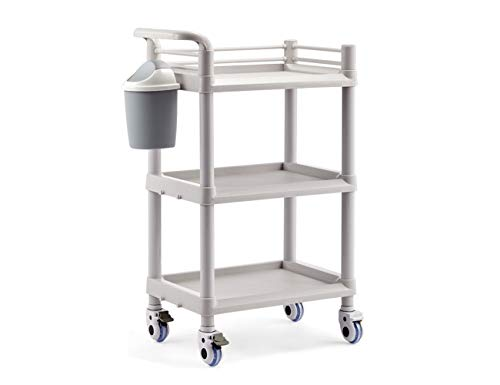 Salon Furniture Spa Beauty Trolley Rolling Cart With Waste Bin Two Or Three Layers 6 Types Optional Elitzia ET005 (Gray 3 Layers With Waste Bin)